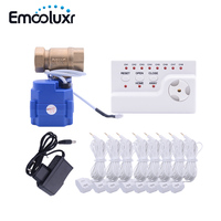 Russia/Ukrain/Romania Wired Water Flood Leakage Detection Alarm with 3/4 Motorized Ball Valve Flood Detector Stopper
