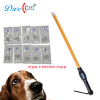 Long stick safe scanner 134.2khz FDX B microchip pets id identification reader with 10 pcs glass tag injector