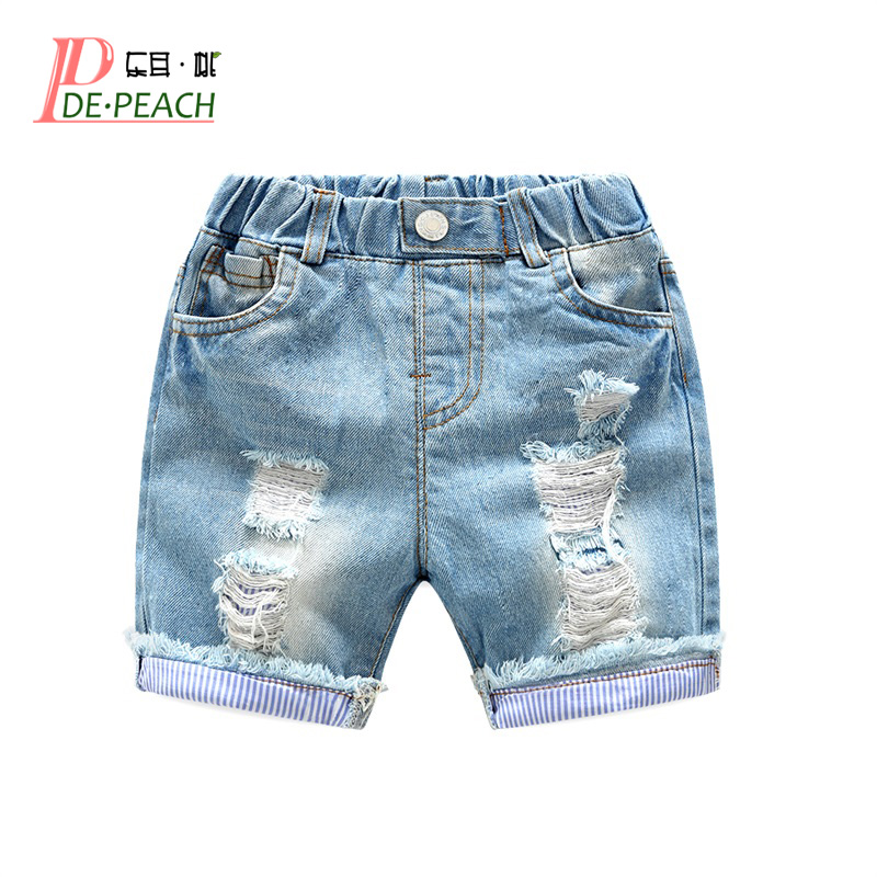 New Baby Boys Holes Jeans   Shorts   Pants Kids Summer Light Blue Denim   Shorts   For Boy Elastic Waist Cotton Children Clothing, 2-6Y