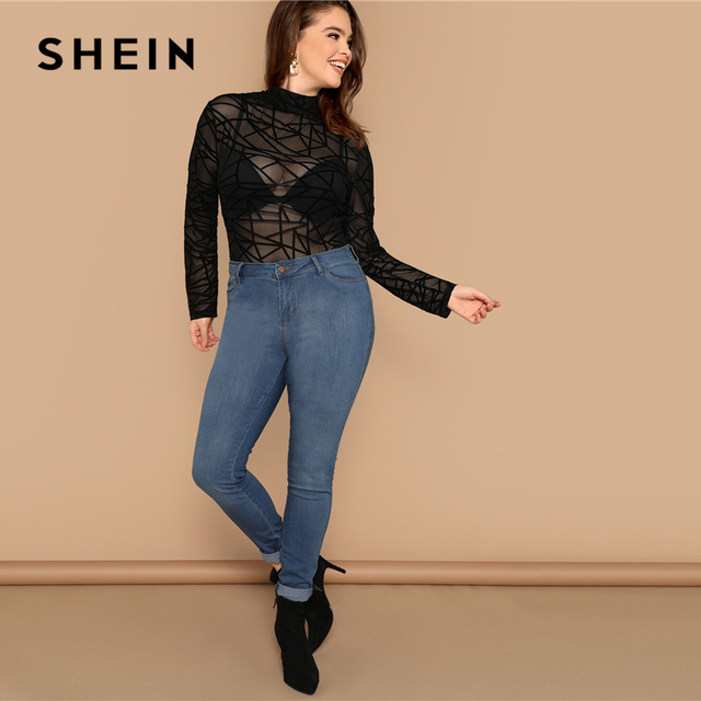 SHEIN Plus Size Sexy Black Mock-neck Geo Mesh Blouse Without Bra Women Sheer Slim Fit Top Spring Long Sleeve Casual Plus Blouses 3