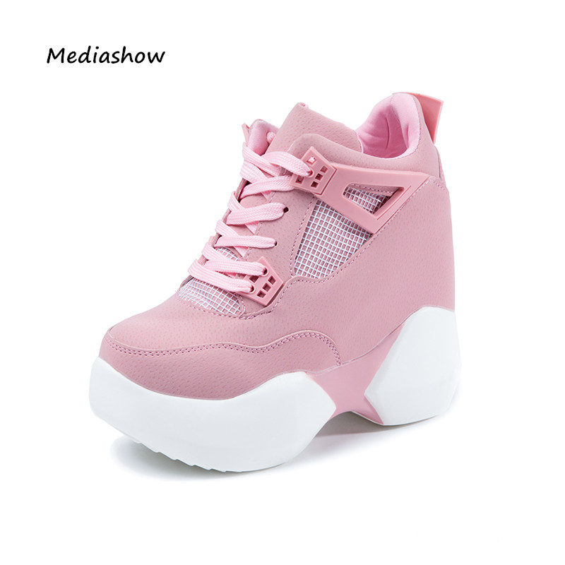 Fashion Brand Autumn Winter Women's High Platform Shoes Height Increasing Leathe Shoes Thick Sole Trainers Lady Shoes Pink White