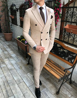 2019 New Beige Men's Suit 2 Pieces Double breasted Notch Lapel Flat Slim Fit Casual Tuxedos For Wedding(Blazer+Pants)