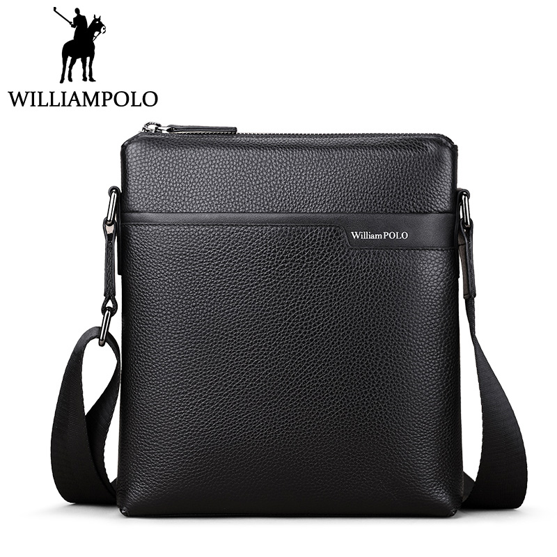 WilliamPolo Shoulder Bag Leather Men Messenger Bags Strap Blue Classic Business Cross Body Chest bag Genuine Male Husband Gift