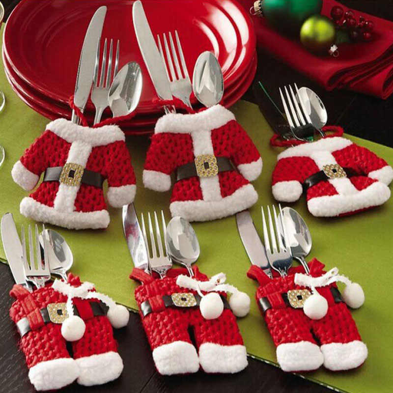 6pcs Christmas Table Decor Silverware Cutlery Tableware Holder Pocket Santa Suit Gift 2020 New Year Gift Bag