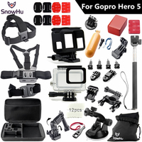 SnowHu For Gopro hero 5 accessories set waterproof protective case chest mount Monopod For gopro hero 5 4 3 GS49