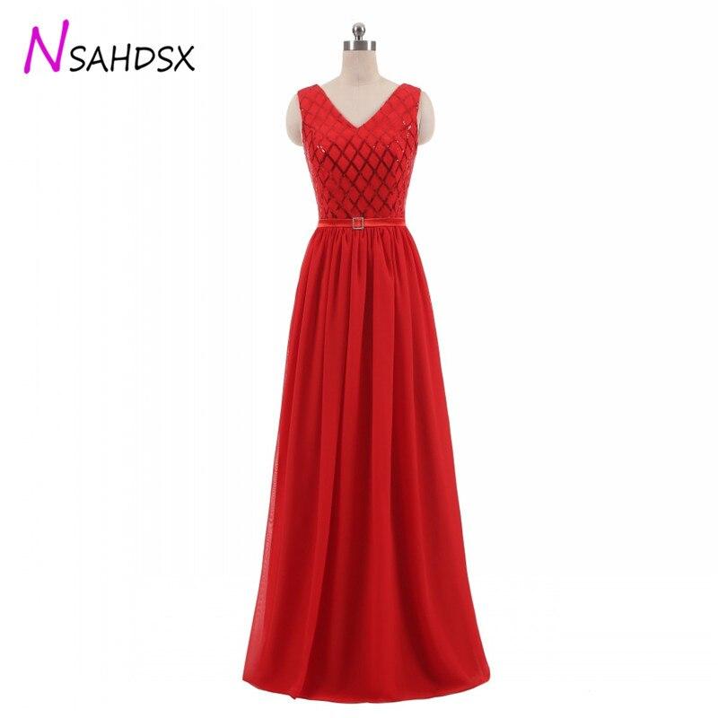 Femmes sans manches paillettes longue robe nouvelle mode robe rouge en mousseline de soie Banquet demoiselle d'honneur longue fête Pageant robe grande taille 2018