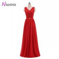 Women Sleeveless Sequins Long Dress New Fashion Dress Red Chiffon Banquet Bridesmaid Long Party Pageant Dress plus size 2018