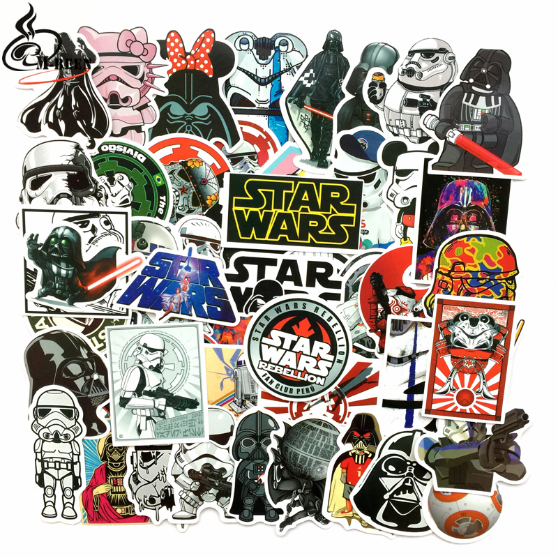 50 Kinds Star War Waterproof Fuel Cap Creative Car Sticker For Skateboard Laptop Luggage Phone Styling Home Toy Diy Sticker charming diy crystal sticker for car cell phone psp camera color assorted 874 piece sheet