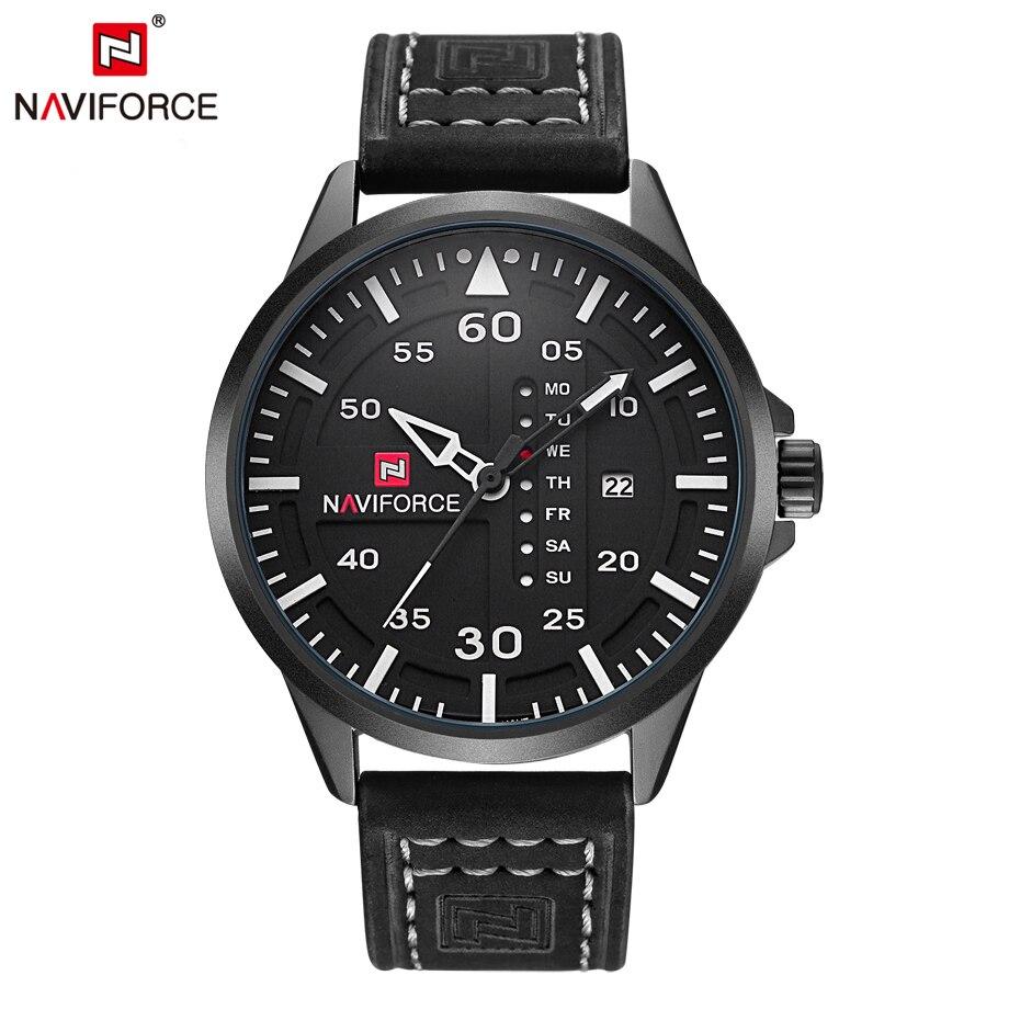 NAVIFORCE Fashion Casual Mens Watches Top Brand Luxury Leather Business Quartz Watch Men Wristwatch Male Clock Relogio Masculino