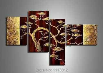 New Abstract Knife Golden Pine Tree Oil Painting Hand Painted 4 Panel Arts Set Home Decor Modern Wall Picture For Living Room
