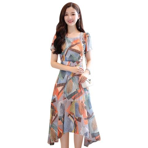 Женское платье новое поступление Элегантные линии печати короткий рукав с круглым вырезом летнее шифоновое платье XHWS-028