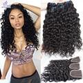 Ali moda Brazilian Virgin Hair With Closure Brazilian Water Wave With Closure Wet And Wavy Virgin Hair 3 Bundles With Closure 1B