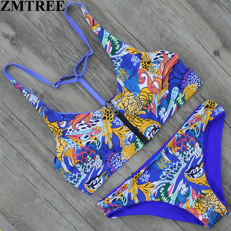 ZMTREE 2017 Bikini Sexy Women Bikini Set Bandage Bathing Suit Vintage Print Zipper Swimwear Double Sided Swimsuit Biquinis Femme ...