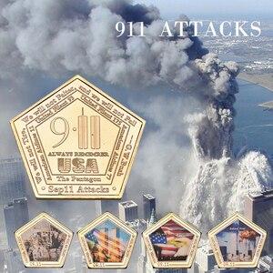 WR 11 września ataki pozłacane wyzwanie monety zestaw z uchwytem monety ze stanów zjednoczonych kolekcjonerskie oryginalne pamiątki prezenty Dropshipping