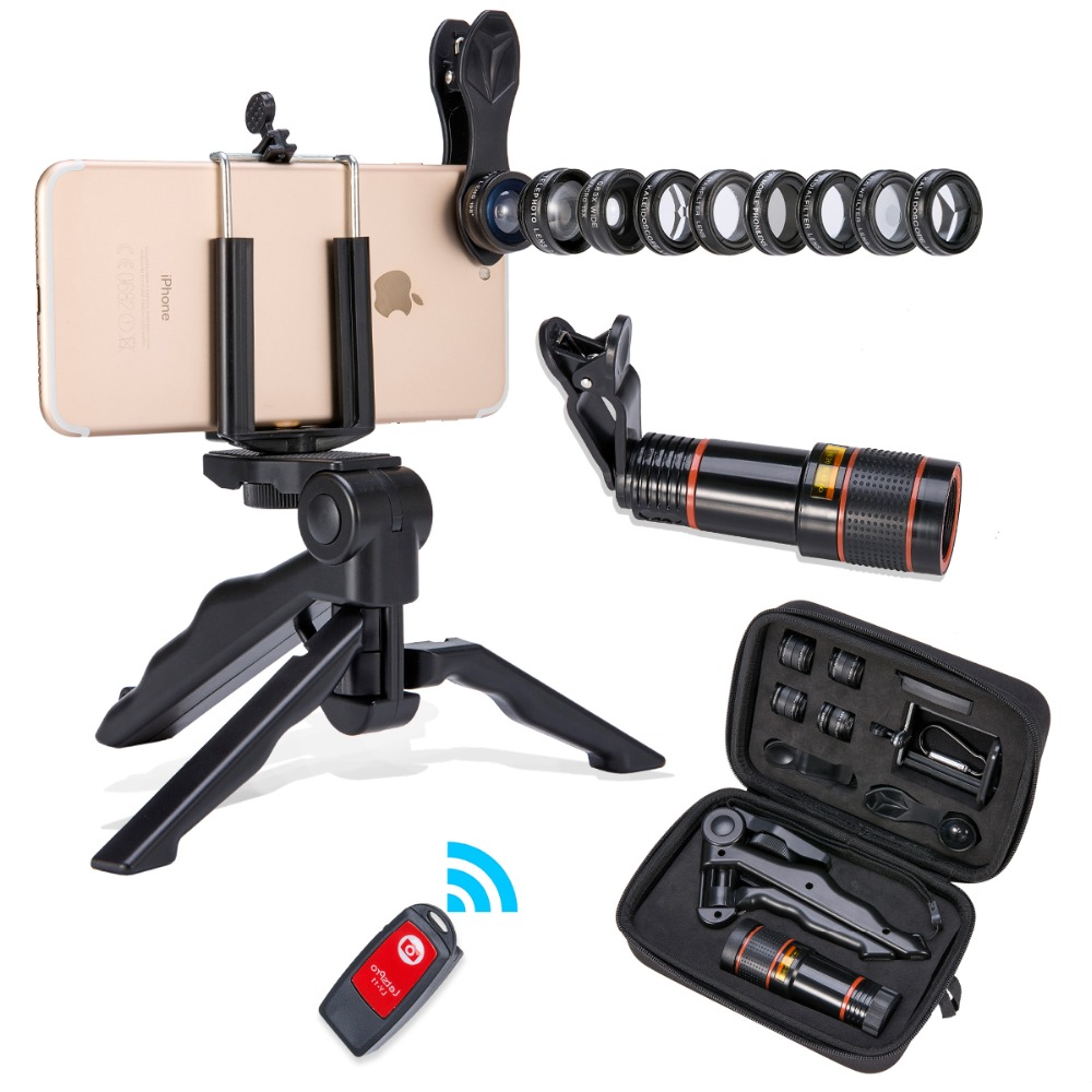 Akinger phone lens camer cell phone lens Kit Fisheye Wide Angle macro 12X telescope Lens for iPhone xiaomi samsung android phone