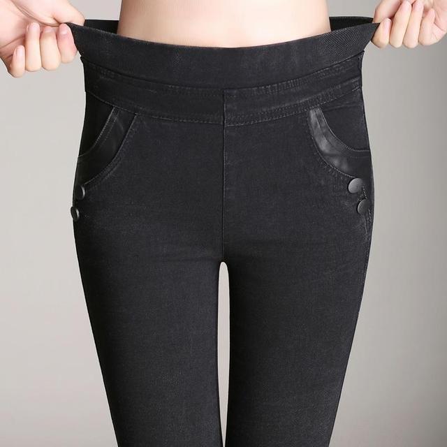 Lápiz Pantalones Vaqueros Flacos Delgados Grandes Patios Lmitation Vaqueros Pantalones Mujer 2016 Otoño Cintura Elástica Pantalones de Las Señoras de La Vendimia