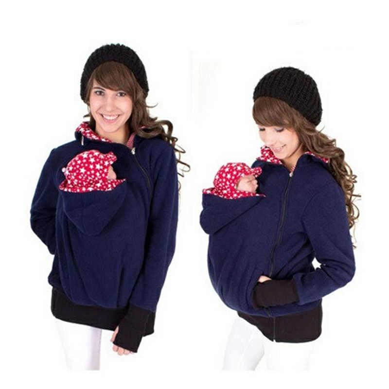 Сумка-кенгуру; куртка на молнии; сезон осень-зима популярные модели тройной мульти-функциональный Мать свитер-кенгуру пальто толстовки Беременность