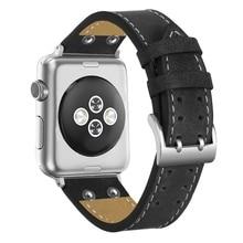 Relógio Genuine Pulseira de Couro de luxo Para A Apple i-assistir a Série 1/2/3 42 38mm mm pulseira Wrist band Men Smartwatch Acessórios