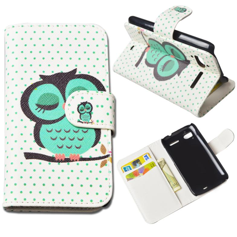 Cute Printing Wallet for HTC Sensation Z710E G14 Cover for HTC Sensation XE Z715E G18 PU Leather Case Stand with ID Card Holder(China (Mainland))