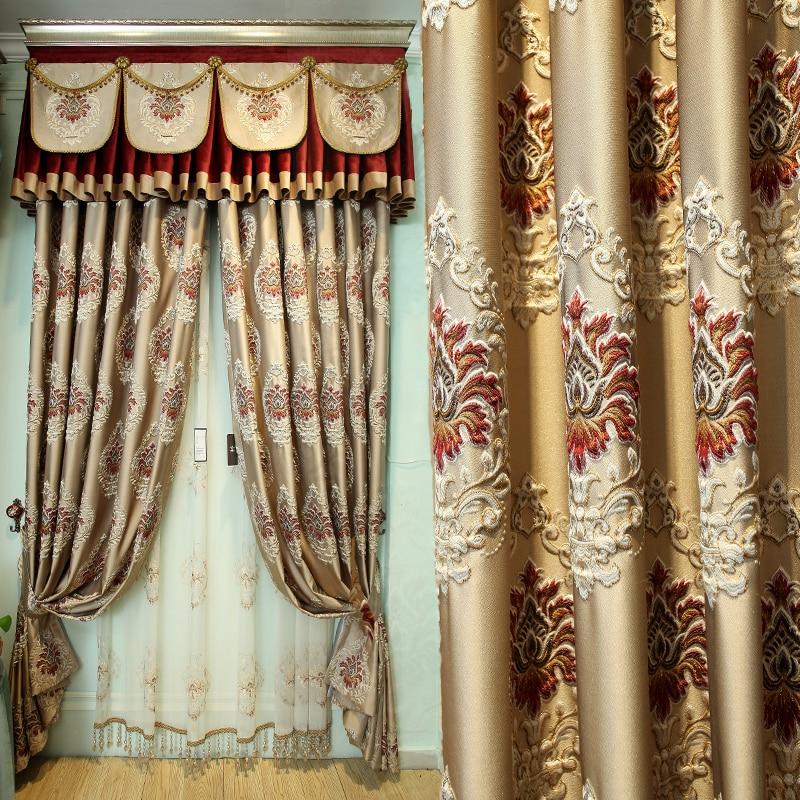Custom curtains European  simple modern high-class floor-to-ceiling Nordic cloth blackout curtain tulle valance drapes N475 window valance