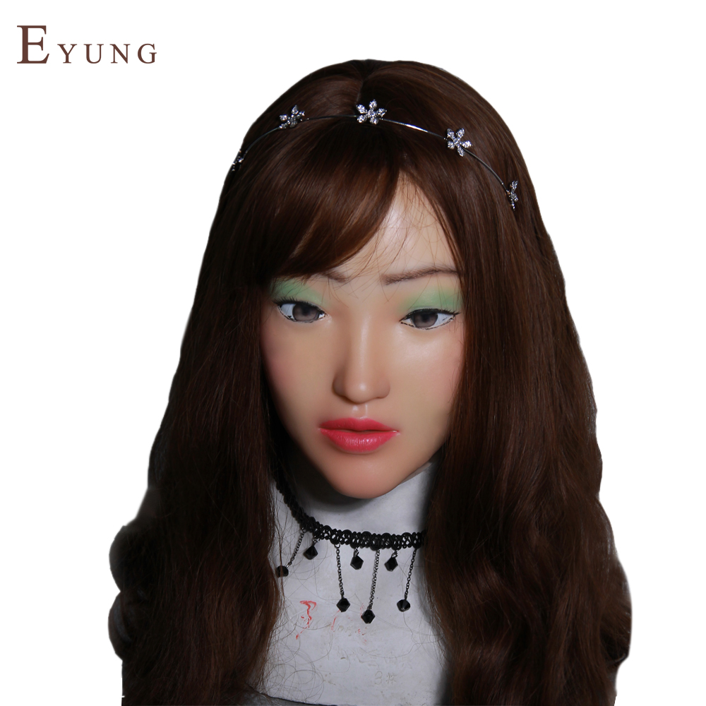 YR-H-Sophia-N3 Top quality masquerades for men crossdresser silicone female face, realistic face for christmas and halloween