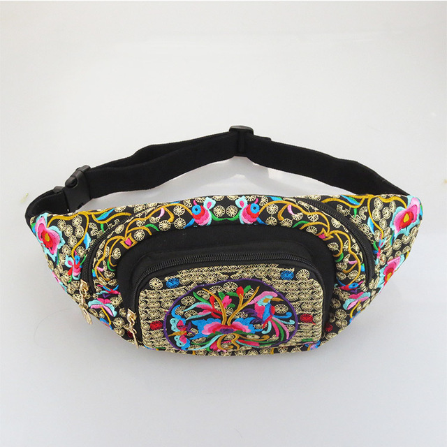 NEW National Chinese embroidery Bags zipper pockets Flowers embroidered waist packs cloth bags