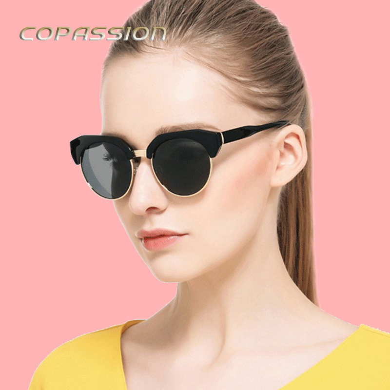 2017 New Fashion sunglasses women polarized brand designer Semi-Rimless cat eye sunglass Vintage Round Metal Sun glasses oculos