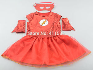 Image 2 - Girls the flash superhero cosplay costumes fantasia vestido halloween fancy Tutu dress Kids carnival party Outfit nl135