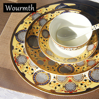 Wourmth European Style Bone China High Quality Dinner Service Western Steak Plate Dessert Cake Dishes With
