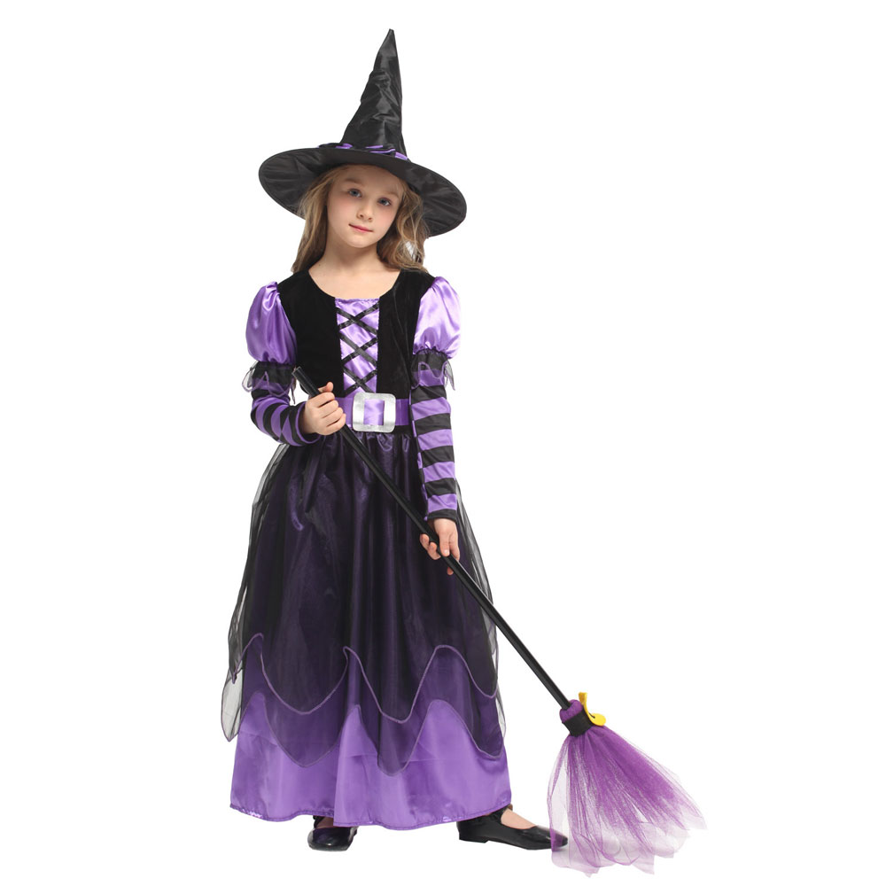 Little Naughty Violet Witch Costume Sorceress Costumes for Girls Girl Halloween Purim Party Carnival Cosplay Dress Up 3