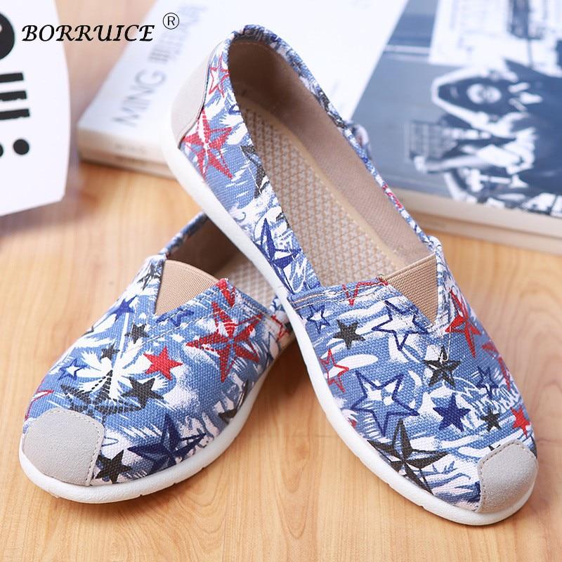 ed0ce1a68 BORRUICE 2018 Mulheres Da Moda Primavera Verão Sapatos de Cinco-Estrela  Impressão Mulher Sapatas de