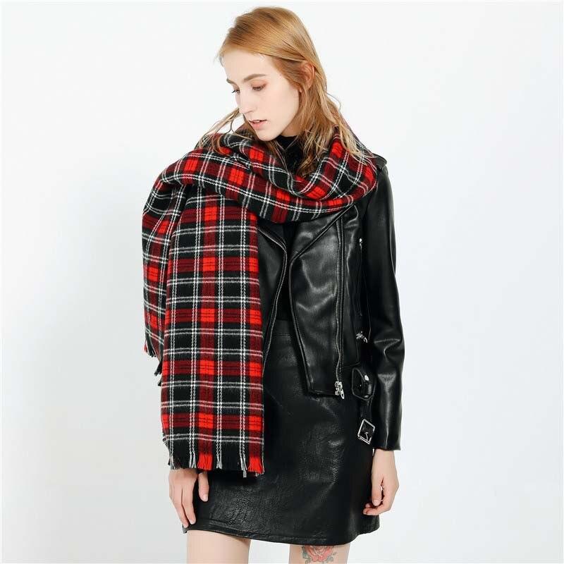 200*85 Cm Classic Scarves New Fashion Black Red Plaid Pattern Travel Warm Imitation Cashmere Female Winter Scarf Women Shawl