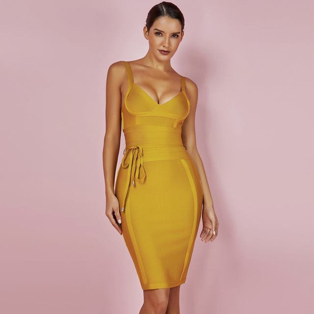 Bandage Dress Yellow Bodycon Dress V Neck Spaghetti Strap 1
