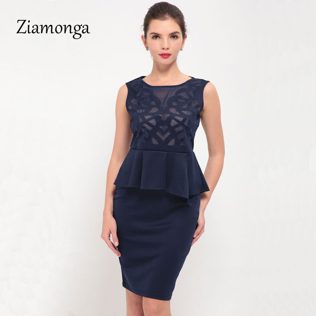 b9e1b0e0f239a Ziamonga Plus Size Vestidos Summer Women Dress Black Sleeveless Slim Lace  Bodycon Midi Dress Sexy Peplum Party Dresses S1854