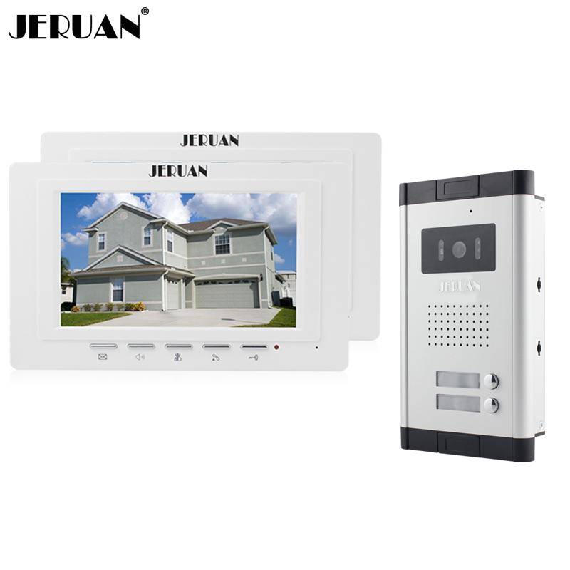 JERUAN New Apartment 7 inch LCD Video Door Phone Intercom System 2 White Monitor 1 HD IR Camera for 2 Household FREE SHIPPING new 4 3 video intercom apartment door phone system 2 hand held monitors 1 door camera for 2 household in stock free shipping