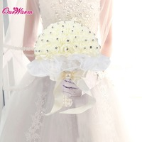 Handmade Foam Rose Lace Bridal Bouquet With Silk Ribbon Rhinestone Diamante Artificial Flower For Wedding Decoration