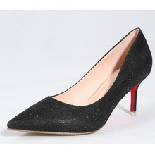 Pointed Toe font b Women s b font Sequined Bling Dress Party High Heels Slip On
