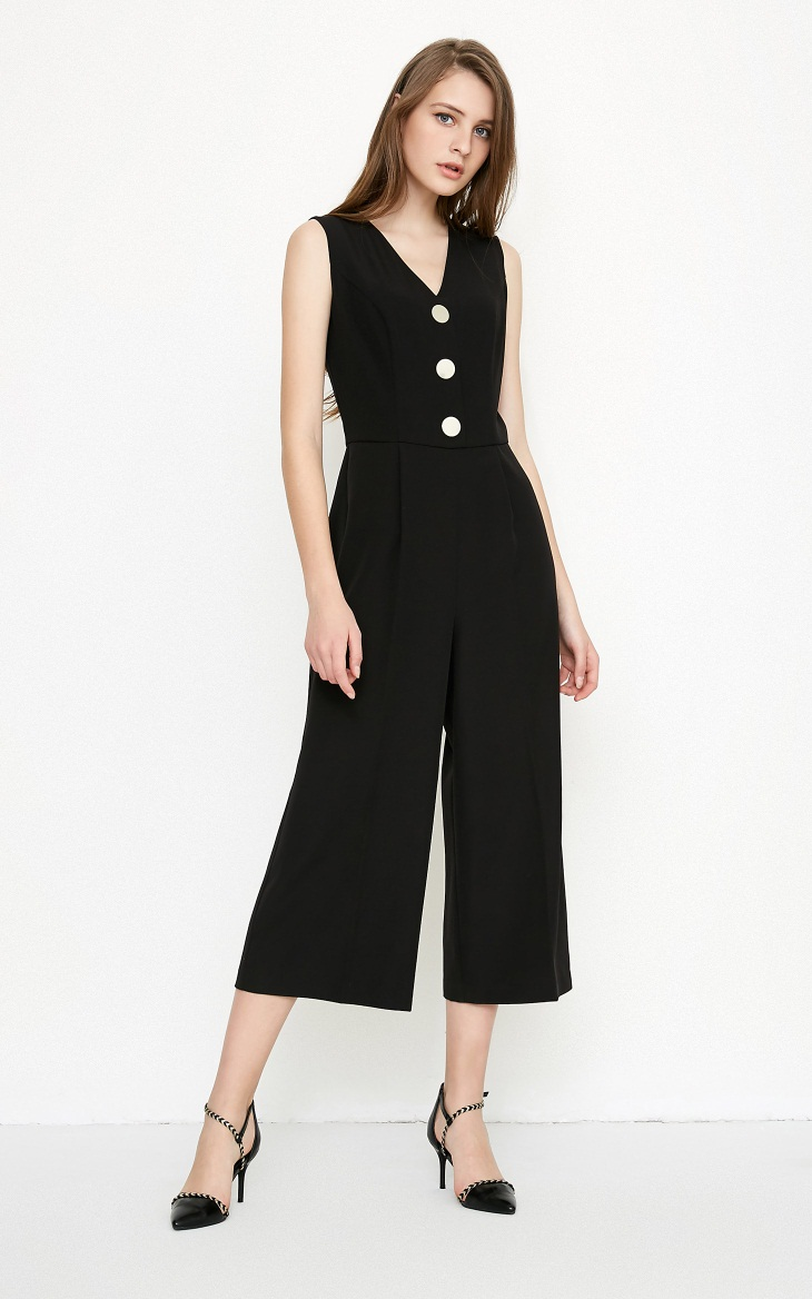 Vero Moda spring fashionable V-collar loose-leg cropped Jumpsuits for women |318144507 7