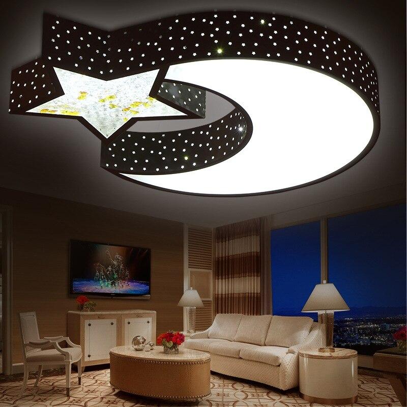 Creative Moon&Star Wrought Iron Ceiling Lamp White Acrylic Ceiling Lights Lustre Luminaria Led Home Lighting Abajur Lampen Avize