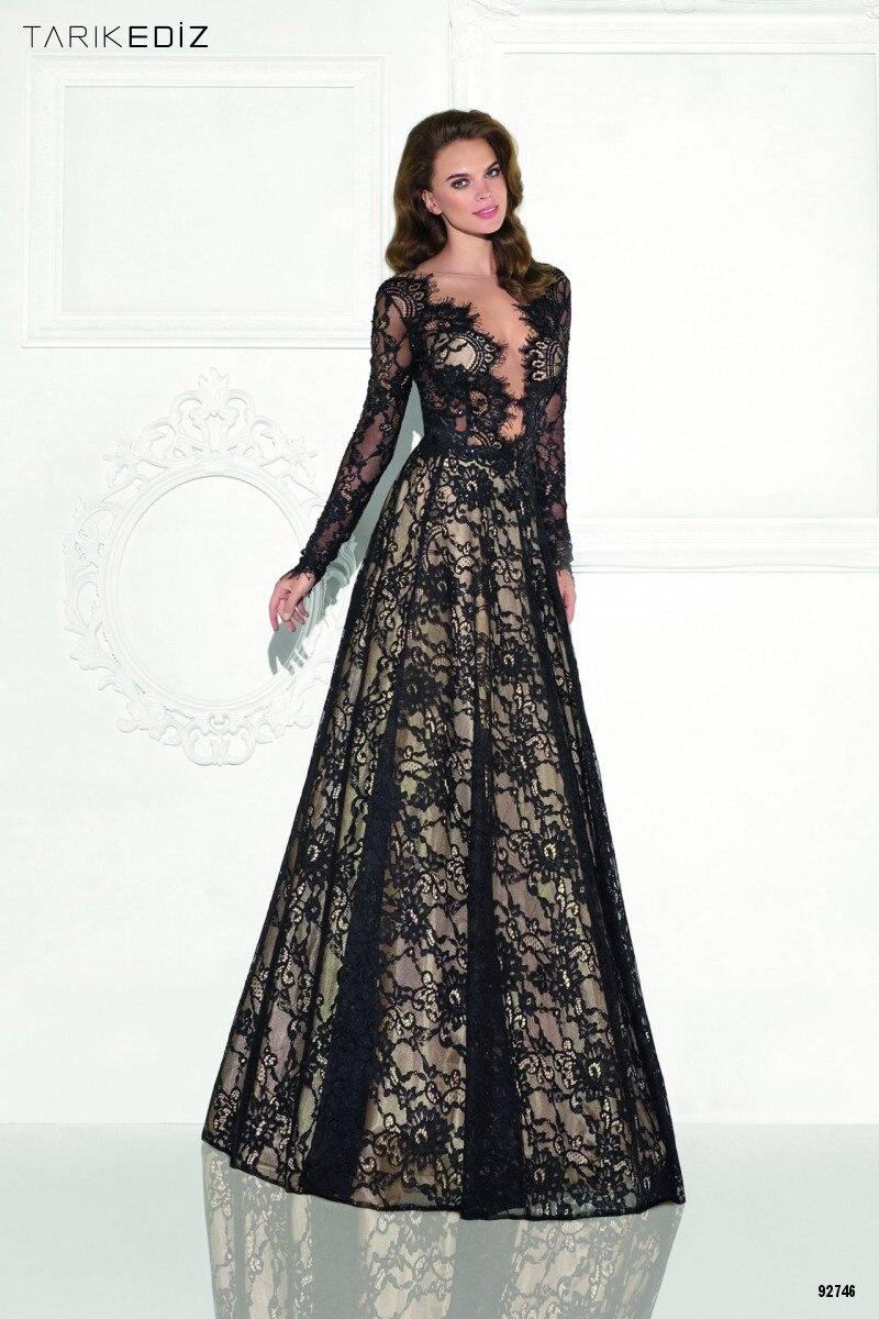 648c8b6c55 2016 vestidos formales de noche todo de encaje negro una línea de cuello V  manga larga palabra de longitud elegante barato de noche vestidos de baile  en ...
