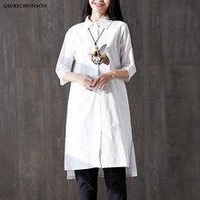 цена на Spring Summer Tops Ladies Seven Sleeve Honey Bee Embroidery Side Slit High Low Plus Size Woman White Shirt Linen Cotton Blouses
