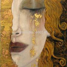 Высокое качество картина маслом на холсте репродукции «Золотые слезы» картина Густава Климта для спальни ручная роспись