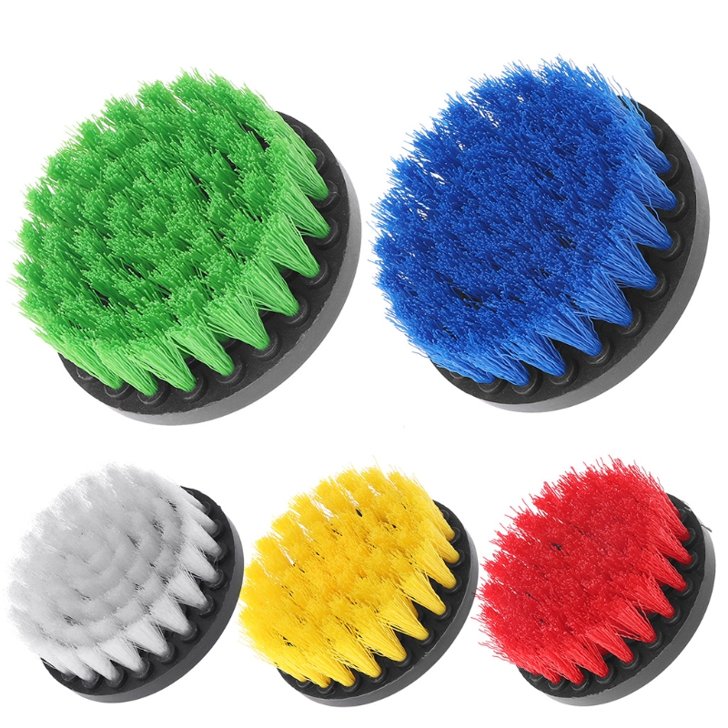 4 105mm Electric Drill Cleaning Brush Heavy Duty With Stiff Bristles For Carpet Car Mats New