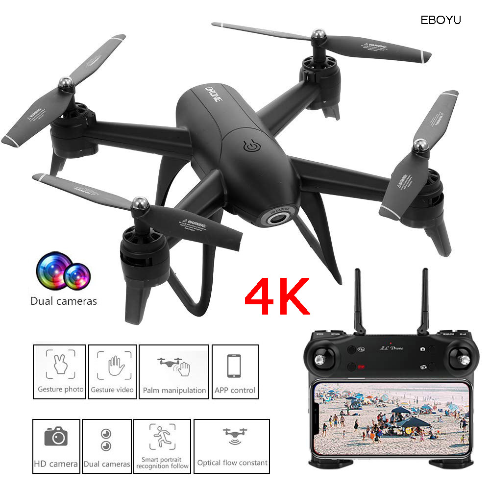 EBOYU SG106 RC Drone With 4K HD Camera WiFi FPV Follow Me Selfie Drone V-Sign Photograph Optical Flow RC Quadcopter Drone RTF