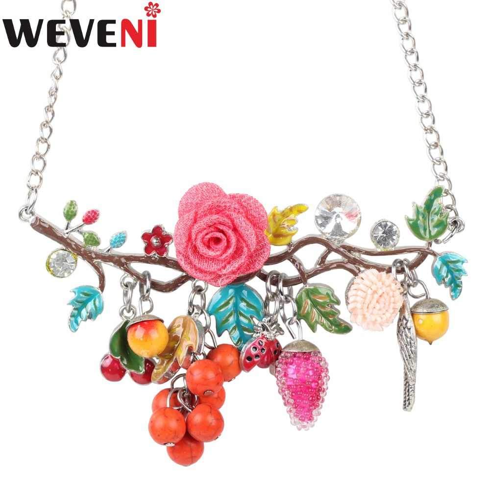 WEVENI Statement Metal Flower Fruits Tassel Tree Plant Choker Necklace Pendants Chain Collar Fashion Enamel Jewelry For Women