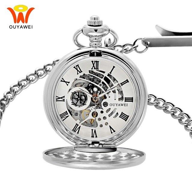 buena calidad más vendido amplia selección € 17.98  Reloj de bolsillo mecánico Ouyawei con collar de viento de mano  con cadena para hombre Vintage esqueleto reloj transparente bolsillo y ...