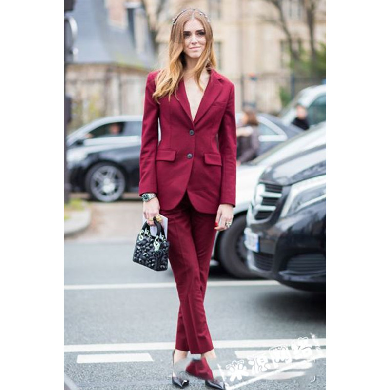 Jacket Pants Wine Red Women Elegant Pant Suits Velvet Formal Office Uniform Design Professional Business Work 2 Piece Suits
