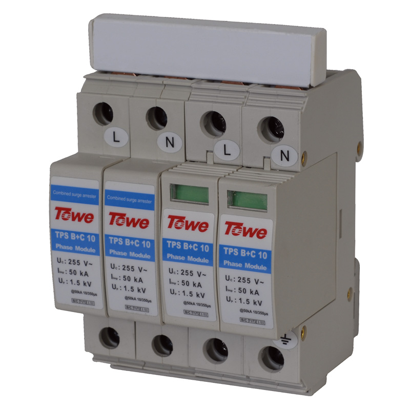 TOWE AP B+C/10 2P Single-phase B+C Protect 4 Modulars Iimp 50KA Up 1.5KV Complex Power Surge Protector