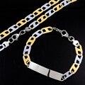 Conjuntos de jóias 8mm Homens Chan Menino Tarja Colar Pulseiras Presentes Moda Silver & Gold Tone Aço Inoxidável 316L Mulheres LJS101