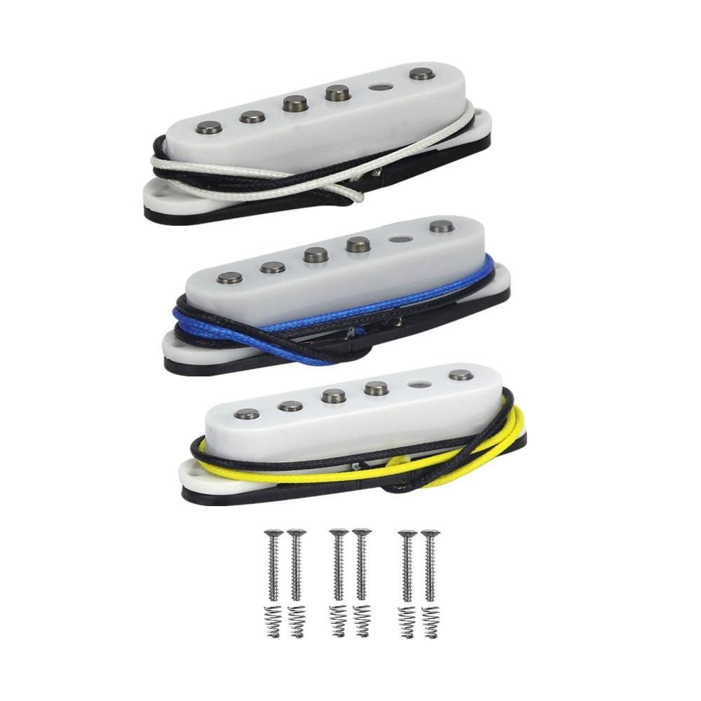 FLEOR 3pcs Alnico 5 Staggered Single Coil Guitar Pickup Neck Middle Bridge Pickup Fiber Bobbin Cloth